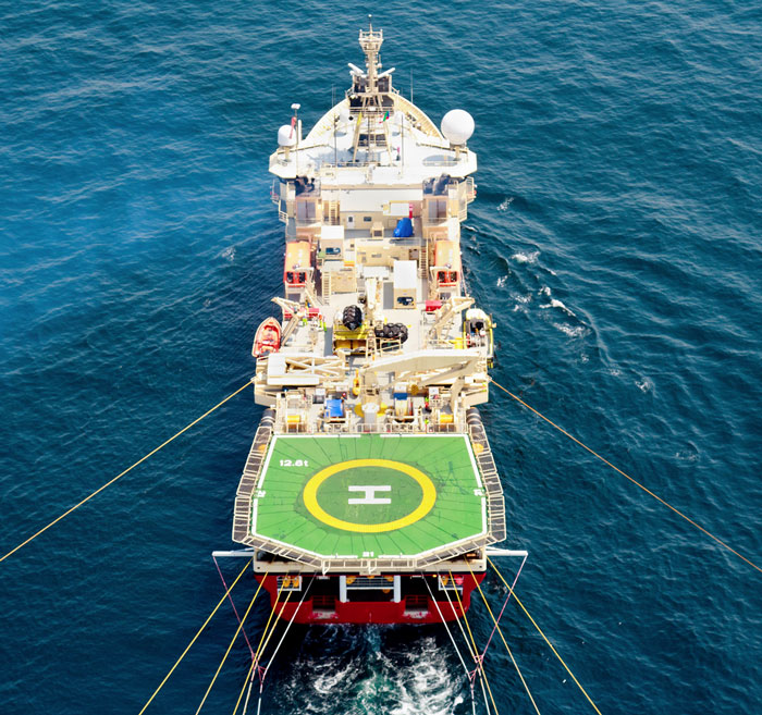 Aerial view of seismic vessel