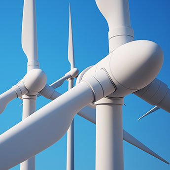 Close of three wind turbines